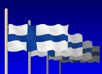 Finnish Flags on the flagpoles