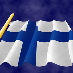 Finnish Flag on the flagpole
