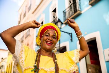 "Beautiful Brazilian woman ""Baiana"" with local costume in Pelourinho, Salvador, Bahia"