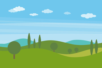Vector flat landscape with green hills and trees and blue bright sky with clouds Wall mural