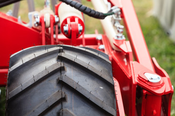 Detailed closeup of heavy vehicle big wheel