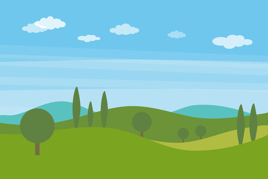 Vector flat landscape with green hills and trees and blue bright sky with clouds