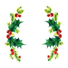 Christmas branches. Holly leaves and red berries. Watercolor illustration isolated on white background. Hand painted.