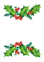 Christmas branches. Holly and red berries.   Watercolor illustration isolated on white background. Hand painted.