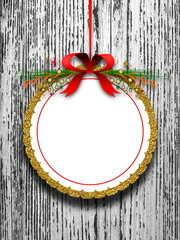 Blank Christmas circle round frame hanged by red ribbon against white wooden background