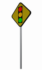 Verkehrsschild USA: Ankündigung für Ampel.