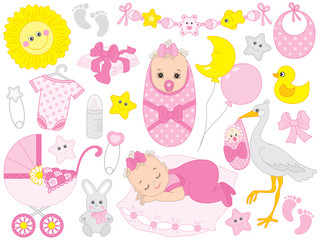 Vector Baby Shower Set with Cute Baby Girl, Stork, Accessories and Toys