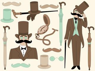 Vector Victorian Era Set with Elegant Gentleman and Vintage Accessories