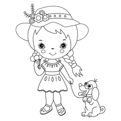 Vector Cute Little Girl with Ice Cream