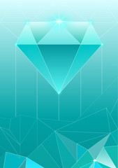 Vector illustration of trendy cosmic crystal geometric shapes pyramid in light blue color. Polygon diamond or crystal poster.
