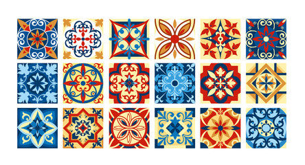 Vector illustration Collection of ceramic tiles in retro colors. A set of square patterns in ethnic style. Vector illustration.