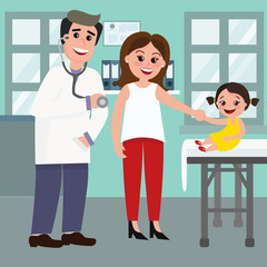 Vector illustration of pediatrician doctor and the mother with a baby girl in hospital. Caring for the health of the child concept in flat cartoon style.
