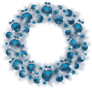 Christmas wreath with silver colour fir branches, blue balls and decorations isolated on white background. Vector illustration.
