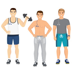 Vector illustration of handsome young guys in fitness outfit in gym. Smiling and happy sport men in gym in flat style.
