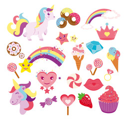 Vector illustration set of cute unicorns, star, rainbow and elements for your design in flat style.