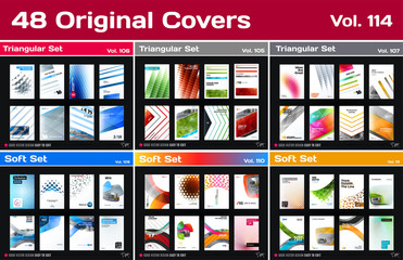 Mega set of design of business vector template, brochure, abstract annual report, cover