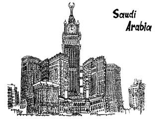 Saudi Arabia sketch postcard high skyscraper