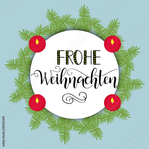 Frohe Weihnachten Download.Merry Christmas Hand Drawn Calligraphy Lettering German Text Frohe