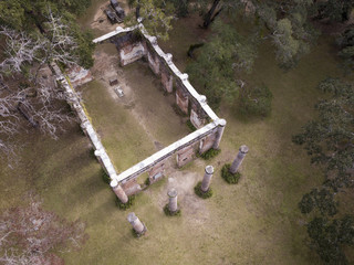 Aerial view of the ruins of Sheldon Church, built in the 1740s in South Carolina