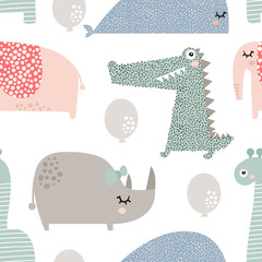 Seamless pattern with rhinoceros, elephant, crocodile, whale. Creative bay animals background. Perfect for kids apparel,fabric, textile, nursery decoration,wrapping paper.Vector Illustration