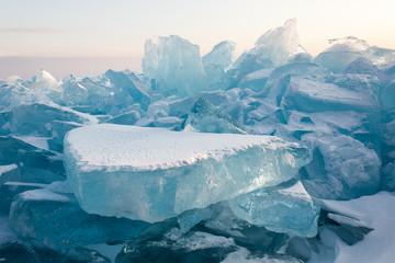 Wall Murals Green blue Cristal clear ice of Baikal lake. Siberia.
