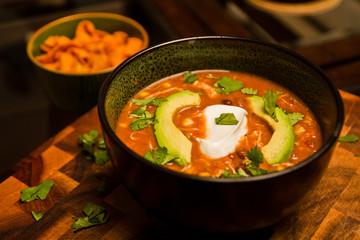 Chicken Enchilada Soup with Avocado