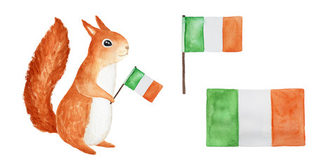 Set of national Irish flags. Funny cheerful squirrel holding. Green, orange colors. St. Ptrick's Day symbol. Celebration, party, travel. Isolated hand drawn watercolour illustration, white background.