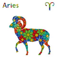 Zodiac sign Aries with stylized flowers