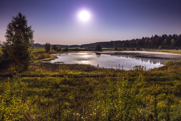 Night landscape on a full moon and smal lake near forest.