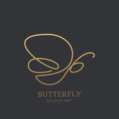 Vector one line logo icon or emblem with golden butterfly. Abstract modern design template. Concept for luxury jewelry and accessories store, beauty spa salon or cosmetics shop.