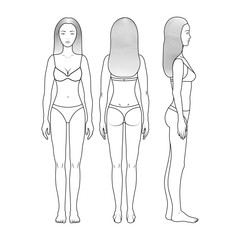 Image of a young girl in full growth in front, behind, side. Girl in underwear. Girl with straight hair of medium length. Shapely thin girl. Sketch for design, for coloring. Vector eps10.