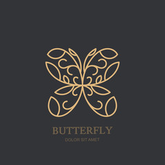 Vector logo icon or emblem with linear style golden floral butterfly. Abstract modern design template. Concept for luxury jewelry and accessories store, beauty spa salon or cosmetics shop.