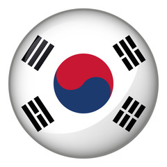 Icon representing South Korea flag button. Ideal for catalogs of institutional materials and geography