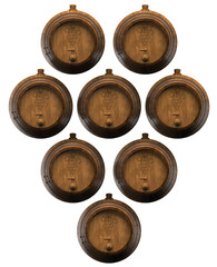 Lot of wooden barrels