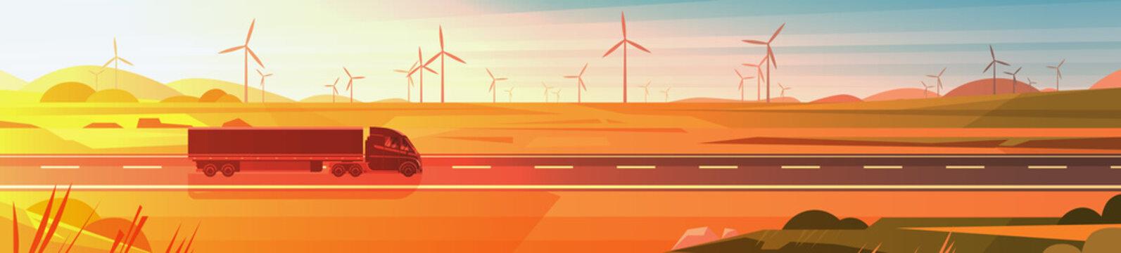 Large Semi Truck Trailer Driving On Road Over Nature Sunset Landscape Horizontal Banner Vector Illustration