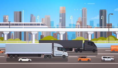 Big Cargo Truck Trailers On Highway Road With Cars And Lorry Over Modern City Background Shipment And Delivery Concept Flat Vector Illustration
