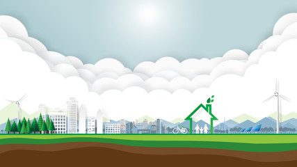 Green city and eco friendly with clouds and blue sky.Save the world and environment conservation concept.Paper art style.Vector illustration.
