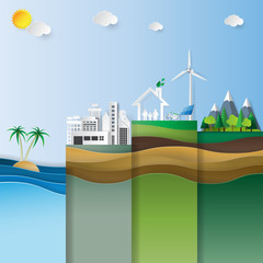 Ecology infographics with nature landscape.Environment conservation concept design.Vector illustration.