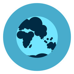 Earth Globe With Map Icon Web Button On Round Blue Background Flat Vector Illustration