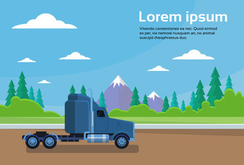 Truck Trailer Cabin On Road Over Mountains Landscape Banner With Copy Space Vector Illustration