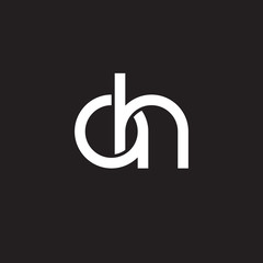 Initial lowercase letter ah, overlapping circle interlock logo, white color on black background