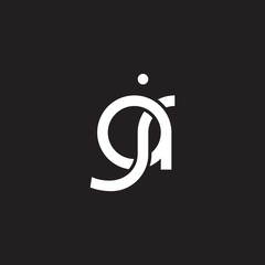 Initial lowercase letter aj, overlapping circle interlock logo, white color on black background