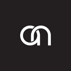 Initial lowercase letter an, overlapping circle interlock logo, white color on black background