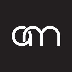 Initial lowercase letter am, overlapping circle interlock logo, white color on black background
