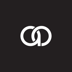 Initial lowercase letter ao, overlapping circle interlock logo, white color on black background