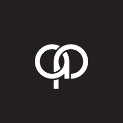 Initial lowercase letter ap, overlapping circle interlock logo, white color on black background