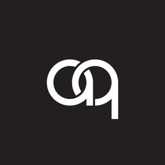 Initial lowercase letter aq, overlapping circle interlock logo, white color on black background
