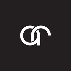 Initial lowercase letter ar, overlapping circle interlock logo, white color on black background