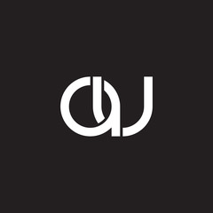 Initial lowercase letter au, overlapping circle interlock logo, white color on black background