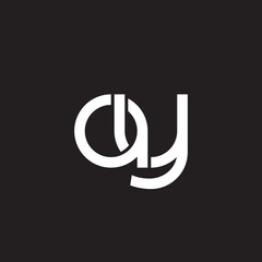 Initial lowercase letter ay, overlapping circle interlock logo, white color on black background
